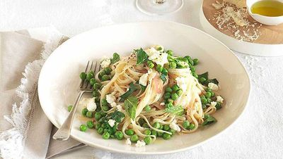 "Recipe:&nbsp;<a href=""http://kitchen.nine.com.au/2016/05/16/18/54/spaghettini-with-peas-lemon-and-ricotta"" target=""_top"">Spaghettini with peas, lemon and ricotta</a>"