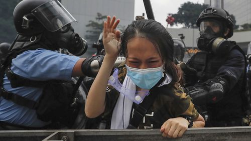 A protester is confronted by riot police during a massive demonstration outside the Legislative Council in Hong Kong.