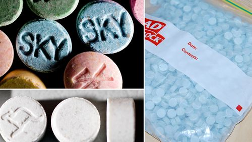 File images of MDMA (top left) and MDMA tablets seized by Australian police.