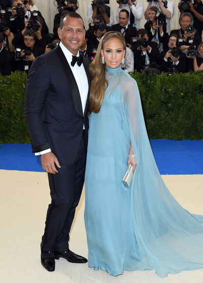 Jennifer Lopez in Valentino and Alex Rodriguez at the 2017 Met Gala<em> Rei Kawakubo/Comme des Garcons: Art Of The In-Between</em>
