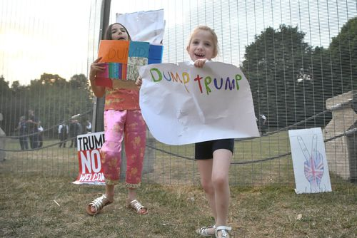 Even children have been getting into the anti-Trump protests. Picture: AAP