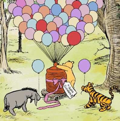 Winnie the Pooh and his friends head to Windsor Castle to deliver the gift.