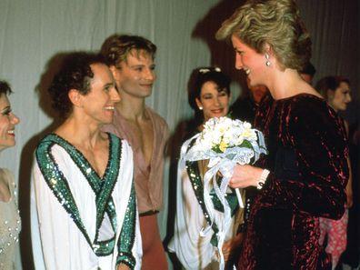 Diana, Princes Of Wales, Meeting Ballet Dancer Wayne Sleep At Sadler's Wells Theatre in 1985.