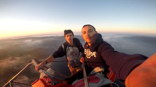 The pair claimed they were 350m above the ground.  (Social media)