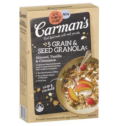 Carman's 5 Grain & Seed Granola Almond, Vanilla & Cinnamon