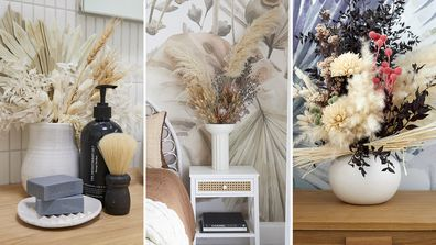 Dried flowers have been used for styling on The Block