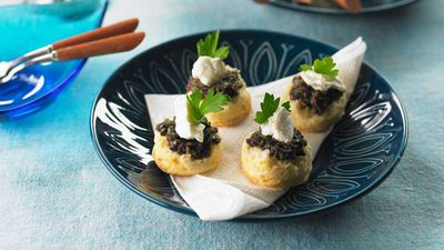 "Recipe: <a href=""https://kitchen.nine.com.au/2016/05/16/19/46/parmesan-scones-with-goats-cheese-tapenade"" target=""_top"">Parmesan scones with goats cheese and tapenade</a>"