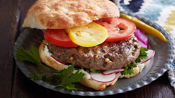 Spiced lamb and pine nut burgers with tahini yoghurt