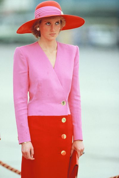 Diana, Princess of Wales in a Catherine Walker suit and a Philip Somerville hat on an official tour of the Gulf States on March 15, 1989 in Kuwait City, United Arab Emirates.