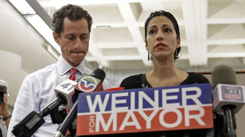 New York mayoral candidate Anthony Weiner and his wife Huma Abedin. (AAP)