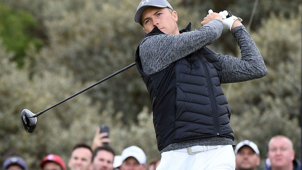 Jordan Spieth in action during the first round of the 2017 British Open. (AAP)