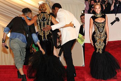 Beyonce's frock at the MET Gala was so tight she had to be carried up the stairs. Practicality fail!