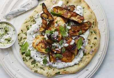 "<a href=""http://kitchen.nine.com.au/2016/05/04/15/36/anjum-anands-grilled-halloumi-and-eggplant-wraps-with-herbed-yoghurt"" target=""_top"">Anjum's grilled haloumi and eggplant wraps with herbed yogurt<br /> </a>"
