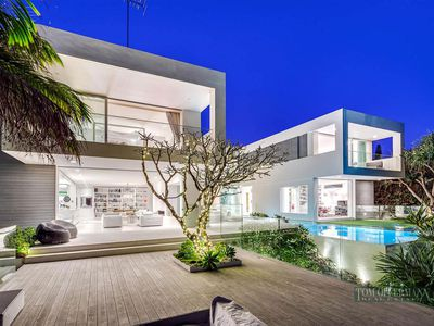 The seven bedroom, five bathroom house is located in the exclusive Seaview Terrace at Sunshine Beach nearby Noosa Heads.