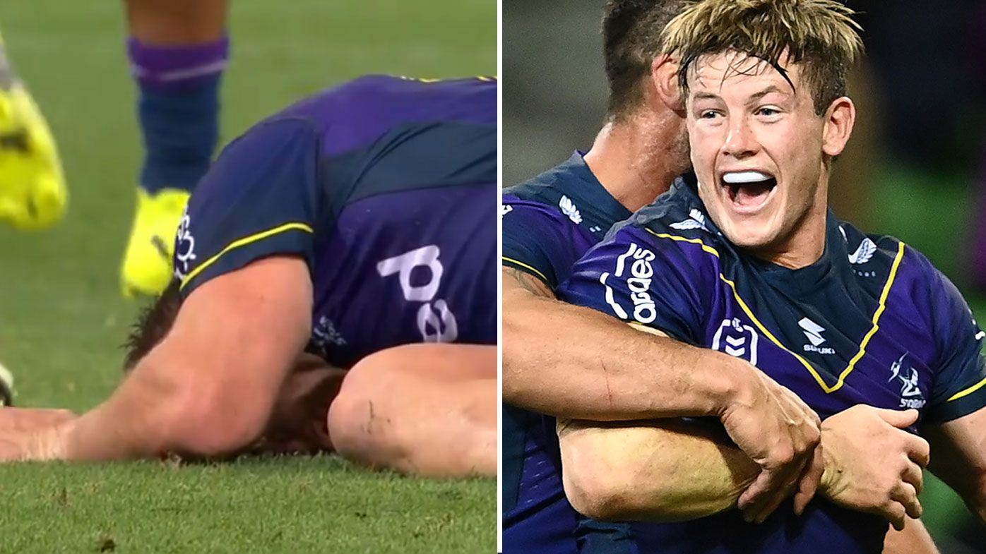 Harry Grant was knocked out and then went on to score a decisive try for the Storm. (Getty)