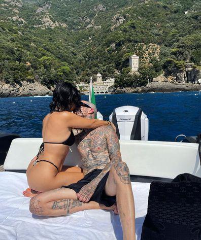 Kourtney Kardashian and Travis Barker enjoy romantic Italian vacation.