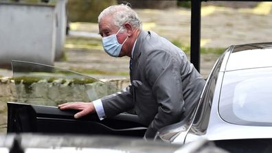 Britain's Prince Charles arrives at the King Edward VII's hospital in London, Saturday Feb. 20, 2021, to visit his father Prince Philip