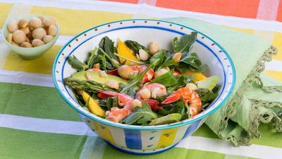 "Recipe: <a href=""http://kitchen.nine.com.au/2017/01/31/10/48/lyndey-milans-macadamia-moment-mango-prawn-and-avacado-salad"" target=""_top"">Lyndey Milan's macadamia moment mango prawn and avocado salad</a>"
