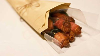 """<p>Or for you could try a bacon bouquet DIY style... for something a little different.<br /> Find out <a href=""""http://kitchen.nine.com.au/2016/06/06/16/27/how-to-make-a-bacon-bouquet-for-that-special-someone"""" target=""""_top"""">how to make a bacon bouquet for that special someone</a> here.</p>"""