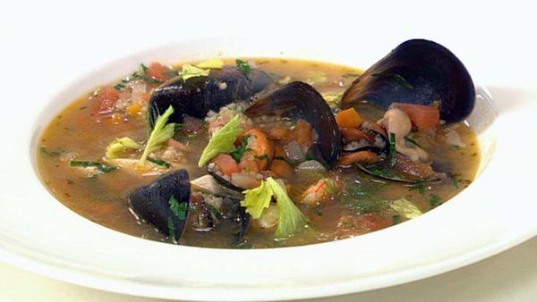 Sicilian seafood and cous cous soup