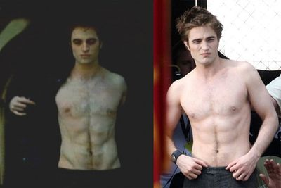 """Poor old R-Pattz had to have his abs painted on for shirtless scenes in New Moon. A source from the set blabbed: """"Rob had a team of makeup artists working on his stomach to make it appear as if he had a six-pack. Rob is definitely not that in shape. He hates the gym and will never really be a muscle man!"""""""