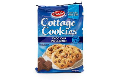 2 Paradise Cottage Cookies Choc Chip biscuits are 100 calories