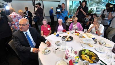 Scott Morrison speaks to war widows at the Panthers Club in Port Macquarie.