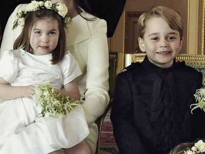 Prince George and Princess Charlotte in the official royal wedding portrait, May 2018