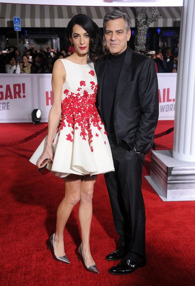 George and Amal Clooney, wearing Giambattista Valli, at the premiere of Hail, Caesar in California,  February, 2016