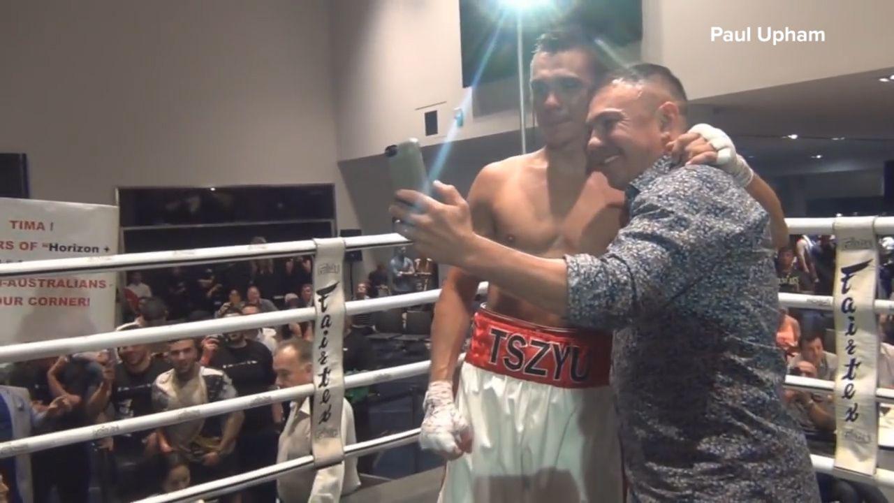 Tszyu celebrates first professional boxing win