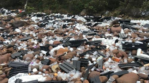 Thousands of pieces of debris have been seen littering beaches in Port Stephens, north of the NSW Central Coast. Picture: 9NEWS.