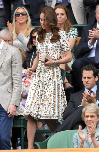The Duchess of Cambridge Kate Middleton in Alexander McQueen at the Men's Final of the Wimbledon Tennis Championships  at Wimbledon in London, England, July, 2016