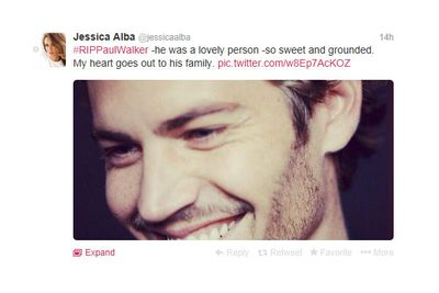"""Jessica tweeted: #RIPPaulWalker -he was a lovely person -so sweet and grounded. My heart goes out to his family."""""""