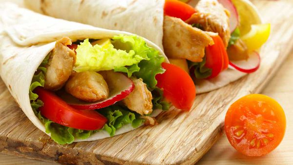 Susie Burrell's energy boost chicken wrap. Image: Supplied