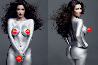 "Kim Kardashian posed naked and covered in silver body paint for an issue of <i>W Magazine</i> and was so surprised when she appeared naked and covered in silver body paint in an issue of <i>W Magazine</i> that she broke down in tears (in a 2011 episode of <i>Kourtney and Kim take New York</i>). ""Oh my God, I'm more naked than I was in <i>Playboy</i>,"" she sobbed. ""[The magazine] promised I would be covered with artwork &mdash; you can see nipple!"" Yes, we could. The pics were released in 2010, but trust Kim K to milk it for two years' worth of attention."