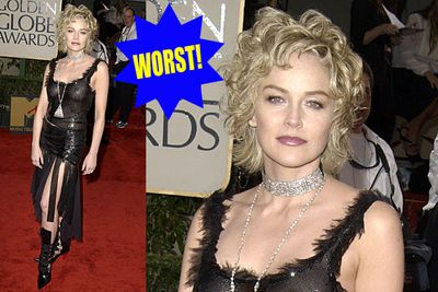 Sure she looks like a trashy Roman gladiator and you can see her nipples, but it's Sharon Stone, what are you gonna do?