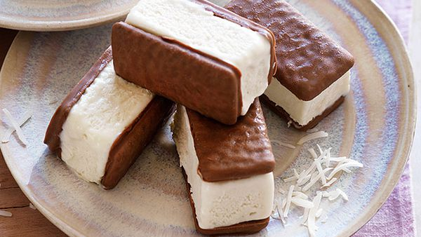 Coconut Tim Tam ice-cream sandwiches