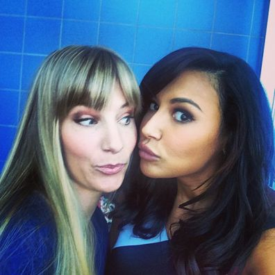 Naya Rivera, Heather Morris, Glee, co-stars, selfie
