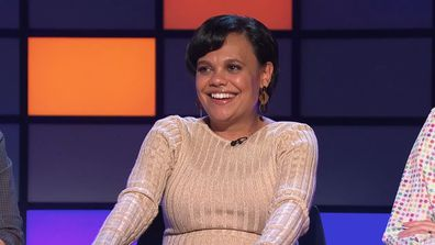 Miranda Tapsell in stitches on The Hundred with Andy Lee.