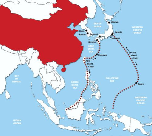 China and the first and second island chains in the Pacific including the US territory of Guam.