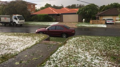 Hail reached Sunnybank this afternoon, blanketing lawns in white. (Supplied)