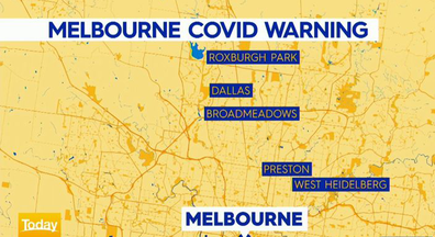 The positive case has triggered a warning across five suburbs in north Melbourne.