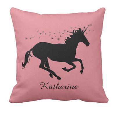 "<a href=""https://www.zazzle.com.au/pink_unicorn_fantasy_personalise_name_pillow-189453527458483313"" target=""_blank"">Zazzle Personalised Unicorn Cushion, $44.90.</a>"
