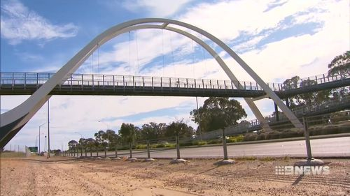 Rocks were thrown from this overpass in Mandurah.