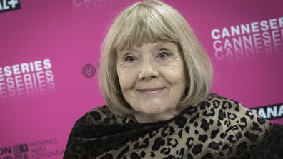 Dame Diana Rigg attends her masterclass during the 2nd Canneseries International Series Festival : day two on April 06, 2019 in Cannes, France
