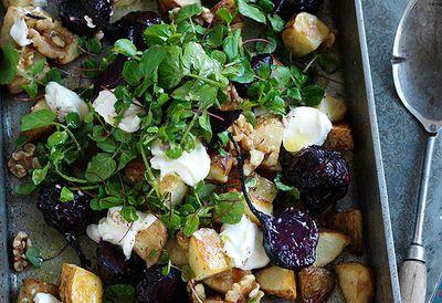 Potato, baby beetroot and walnut salad
