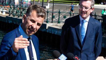 Minister for Transport Andrew Constance and (right) Treasurer Dominic Perrottet, the favourite to become next NSW Premier.