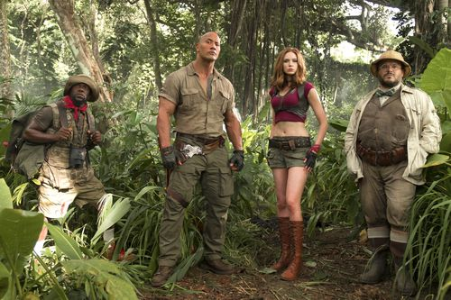 Kevin Hart, from left, Dwayne Johnson, Karen Gillan and Jack Black in Jumanji: Welcome to the Jungle. (AAP)