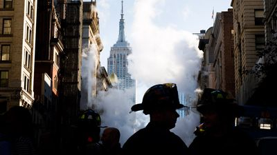 Five injured after 'steam geyser' erupts from New York street