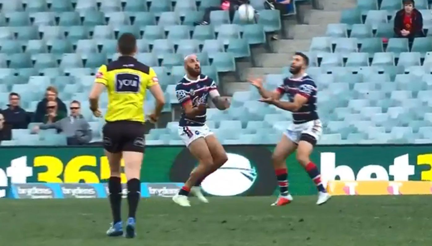 Sydney Roosters duo James Tedesco and Blake Ferguson in embarrassing mix-up during Dragons win